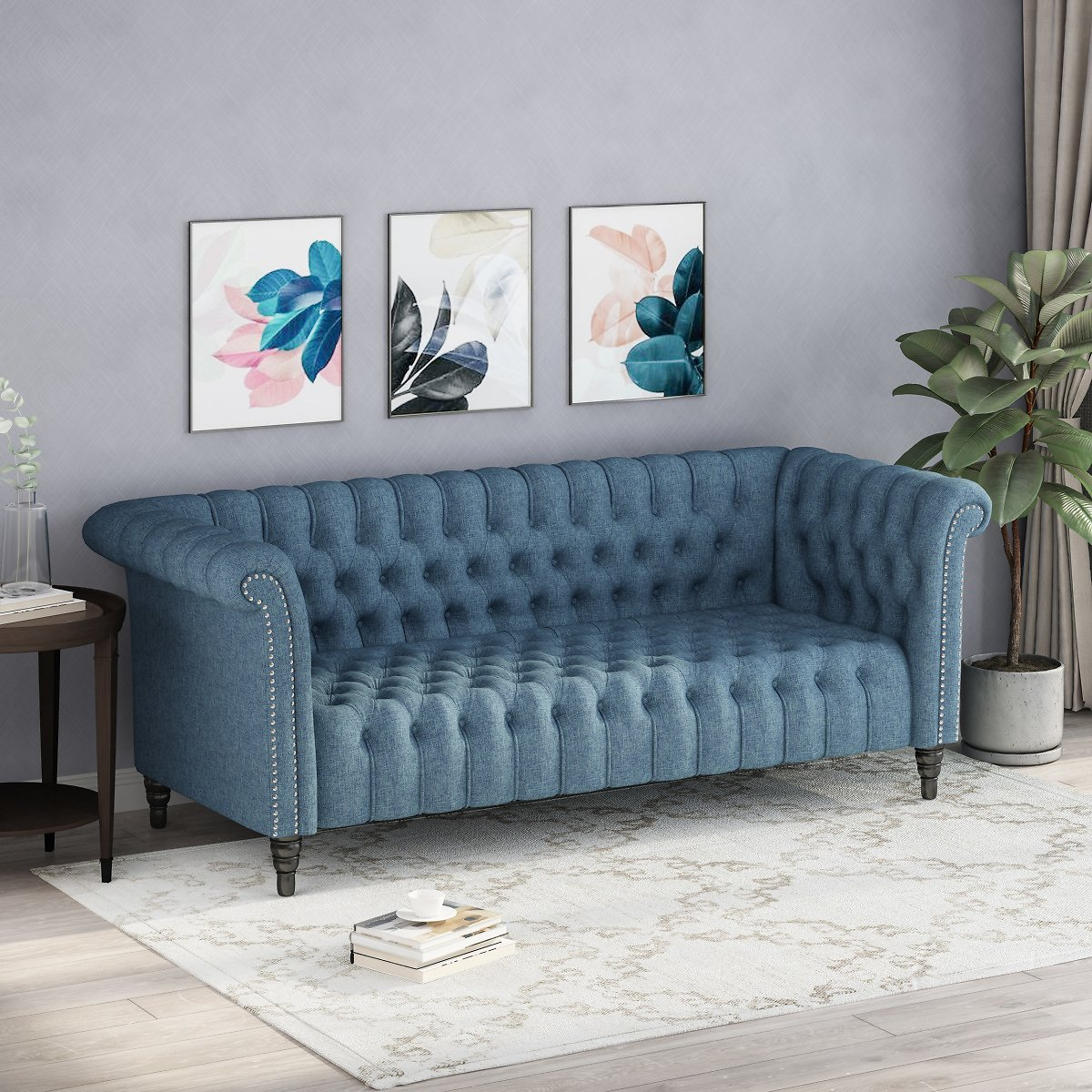 Noble House Xavier Traditional Chesterfield Sofa with Tufted Cushions, Blue and Black