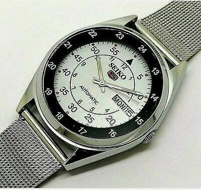 MEN'S SEIKO 5 AUTOMATIC 6309 WHITE COLOR DAY-DATE DIAL STEEL WATCH WORKING ORDER