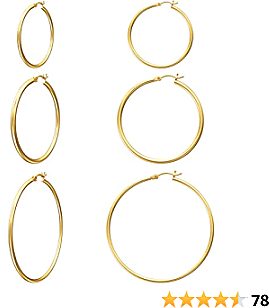 Gacimy Women's Hoop Earrings 14K Gold Plated with 925 Sterling Silver Post