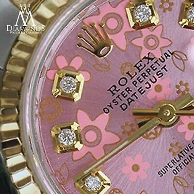 Ladies Rolex 18K & SS 26mm Peach Flower Datejust Diamond Numbers Ladies Watch