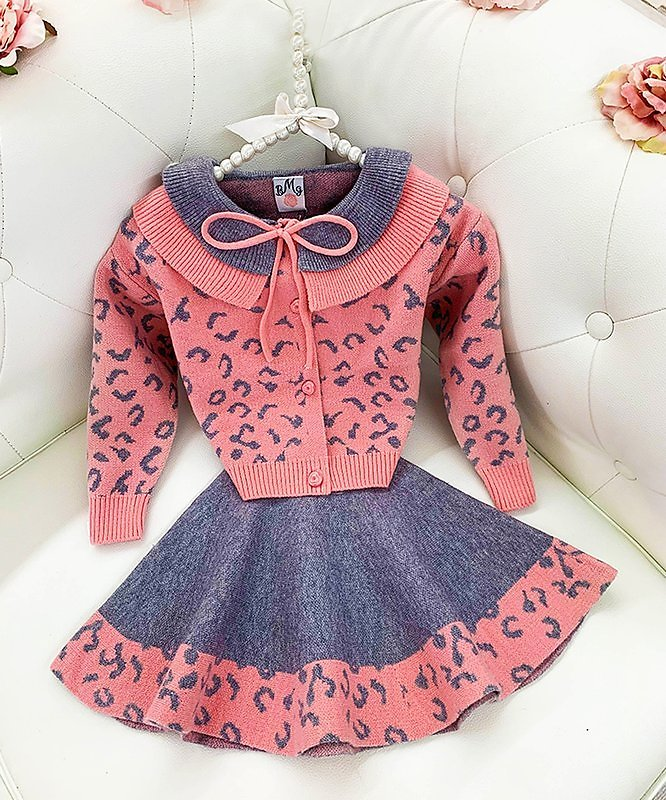 Pink & Gray Leopard Collared Cardigan & A-Line Skirt - Toddler