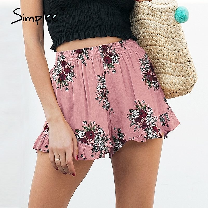 US $6.66 50% OFF|Simplee Floral Print Shorts Women Elastiac Waist Pleated Beach Summer Shorts Casual Streetwear Loose Shorts 2018|printed Shorts|shorts Womenloose Shorts - AliExpress