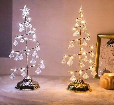 Christmas Tree LED Lights Gold Silver Diamond Glasses Style Battery Operated New