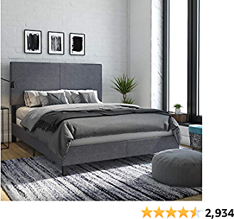 DHP Janford Upholstered Best Bed with Chic Design | Queen | Grey Linen