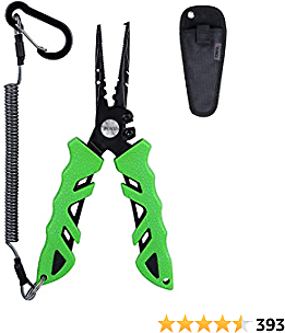 RUNCL Fishing Pliers S1, Needle Nose Pliers - Braid Cutter, Hook Remover, Split Ring Opener, Weights Crimper, Bait/Weight Tuner, Fish Gripper - Kayak Fishing Ice Fishing Saltwater & Freshwater