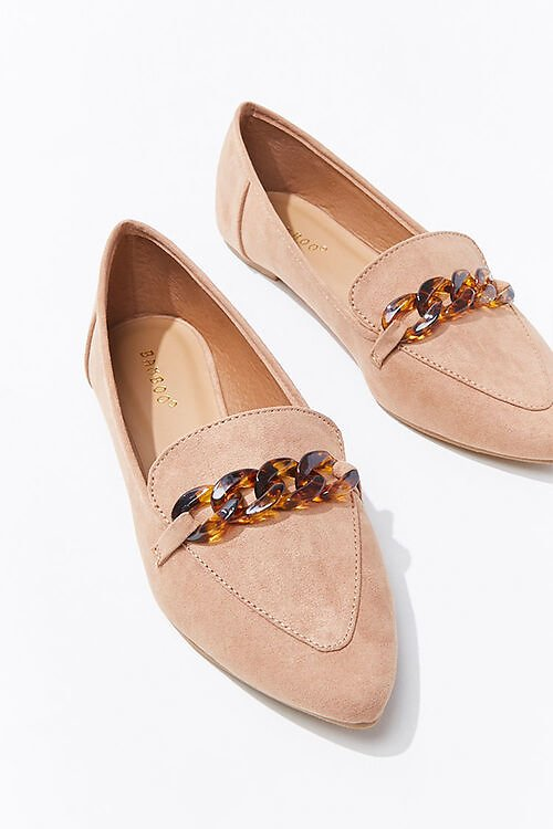 Faux Suede Curb Chain Loafers