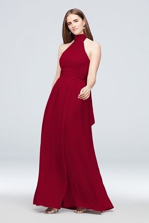 Tie Mock-Neck Ruched Georgette Bridesmaid Dress | David's Bridal