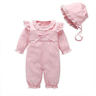 Newborn Baby Girls Pink Romper Outfits Princess Baby Clothes Bodysuit Jumpsuit