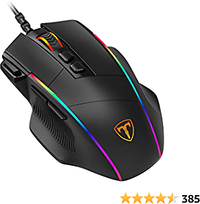 VicTsing Ergonomic Wired Gaming Mouse, 8 Programmable Buttons , 5 Levels Adjustable DPI Up to 8000, Wired Computer Gaming Mice with 7 RGB Backlight Modes for PC, Laptop, MacBook