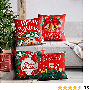 45% OFF GENNISSY 4 Sets Christmas Pillow Covers 18x18