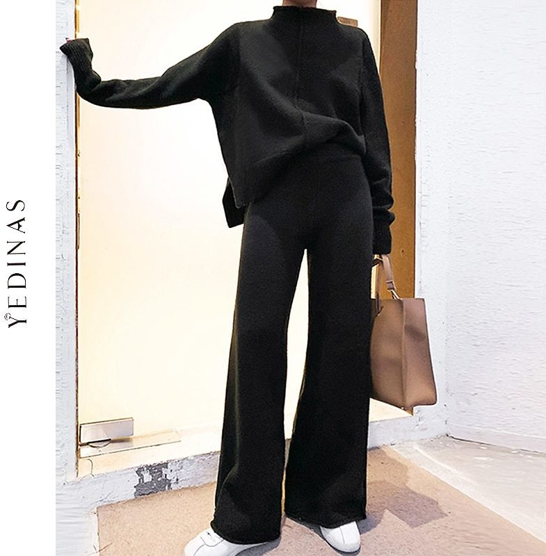 US $30.91 72% OFF|Yedinas Two Piece Set Top And Pants 2020 Winter Korean Womens Tracksuit Set Knitted Casual 2 Piece Sets Clothes Womens Outfits|Women's Sets| - AliExpress