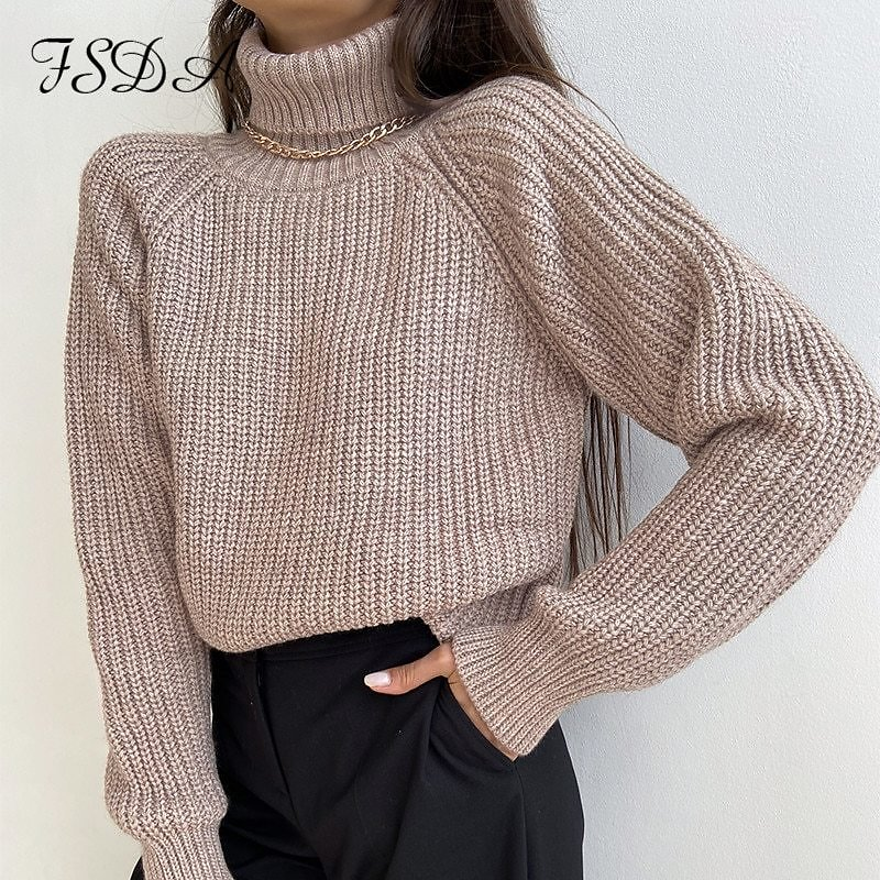 US $14.43 44% OFF|FSDA Turtleneck Women Sweater Women Khaki Long Sleeve Pullover 2020 Autumn Winter Casual Pink Jumper Loose Sweaters Oversized|Pullovers| - AliExpress