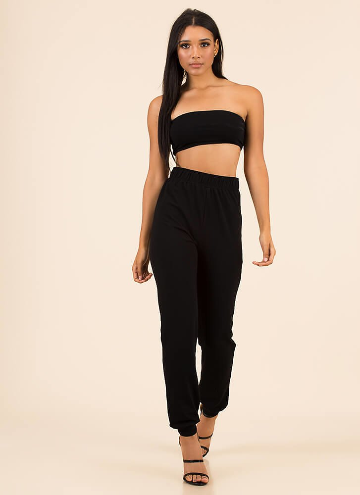 No Sweat Strapless Top And Jogger Set