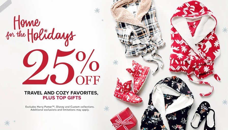 Home for The Holidays 25% Off Travel and Cozy Favorites