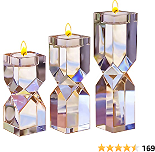 Le Sens Amazing Home Large Crystal Candle Holders Set of 3, 4.6/6.2/7.7 Inches Height, Elegant Heavy Solid Square Diamond Cut Tealight Holders Sets, Centerpiece for Home Decor, Wedding