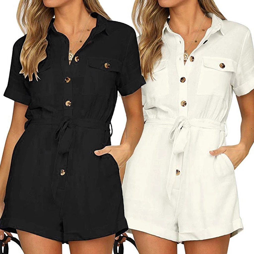 New Arrival Women's Casual Button Down Cuffed Short Sleeve Casual Boho Playsuit Jumpsuit 2019 FC