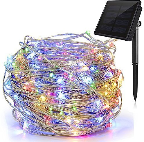 Solite Outdoor String Lights,100 LED Solar Fairy Lights 33ft Flexible Copper Wire Auto On/Off 8 Modes Waterproof IP65 String Lights for Garden, Patio, Windows, Trees, Party (Multi Clours)