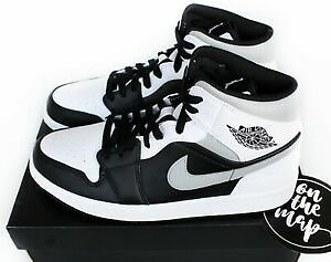 Nike Air Jordan 1 Retro Mid Shadow Grey White Black UK 5 8 9 10 11 US New