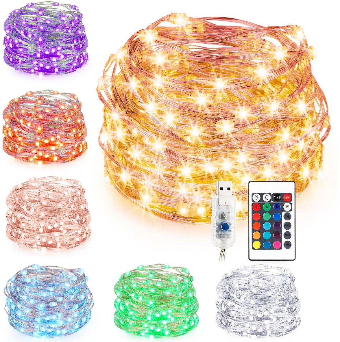 Kohree LED String Lights,USB Powered Multi Color Changing String Lights with Remote,100leds Indoor Decorative Silver Wire Lights