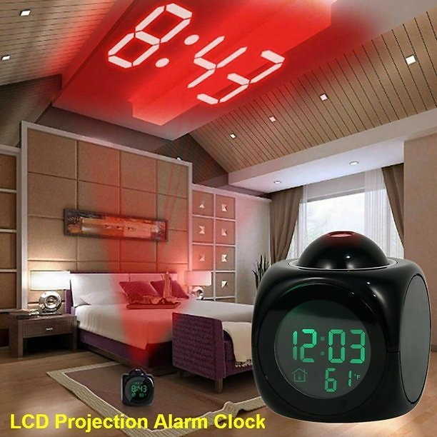 New Digital Projection Alarm Clock Voice Talking LCD Projection Time Thermometer Display Home Decor( Without Battery)