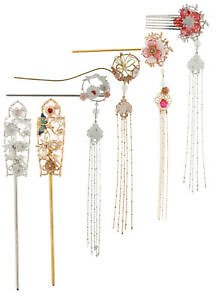 Details About Chinese Wedding Japanese Hair Pin Stick Forks Filigree Flower Accessories