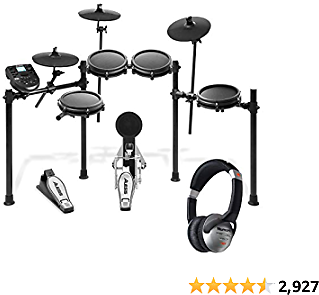 Alesis Nitro Mesh Kit – Eight Piece Mesh Electronic Drum Set With 385 Sounds + Numark HF125 – Portable Headphones With Closed Back Design for Superior Isolation