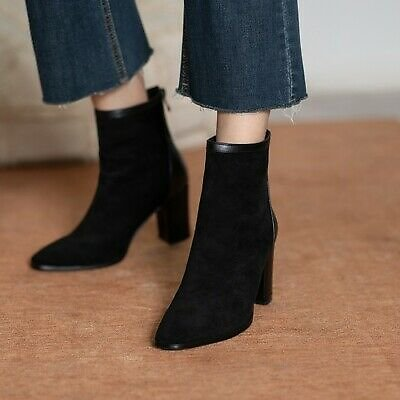 Womens Ankle Boots Block High Heel Suede Elegant Short Boot Square Toe Shoes Zip