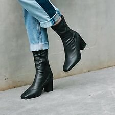 Women Short Boots Elegant Block High Heels Ankle Booties Square Toe Casual Shoes