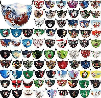 Mens Christmas Face Mask Protective Covering Mouth Masks Washable Reusable