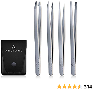 Tweezers - Professional Stainless Steel 4-Piece Precision Tweezer Set for Men & Women - Great for Facial Hair Removal, Eyebrow Shaping, Splinters & Ingrown By Andlane