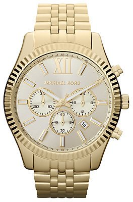 Michael Kors Men's Chronograph Lexington Gold-Tone Stainless Steel Bracelet Watch 45mm MK8281 & Reviews - Watches - Jewelry & Watches