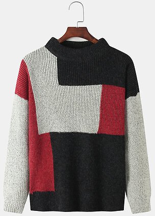 Mens Contrast Color Knitted Round Neck Pullover SweatersTopsfromMen's Clothingon Banggood.com