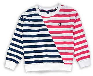 Tommy Hilfiger Big Girl Stripe Crewneck with Heart Flag Patch Sweatshirt & Reviews - Sweaters - Kids