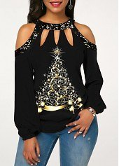 ROTITA Sequin Detail Cold Shoulder Christmas Tree Print T Shirt