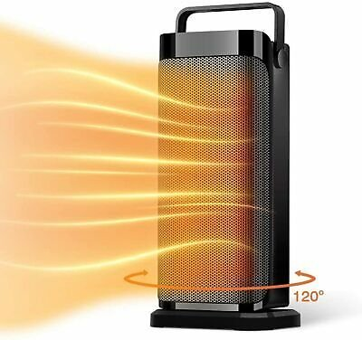 Electric Ceramic Quiet Tower Heater Fan with Thermostat Fast Heating Black