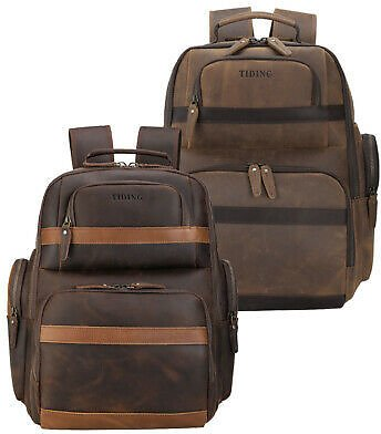 Men Real Leather Weekend Backpack Daypack Travel Bag 16