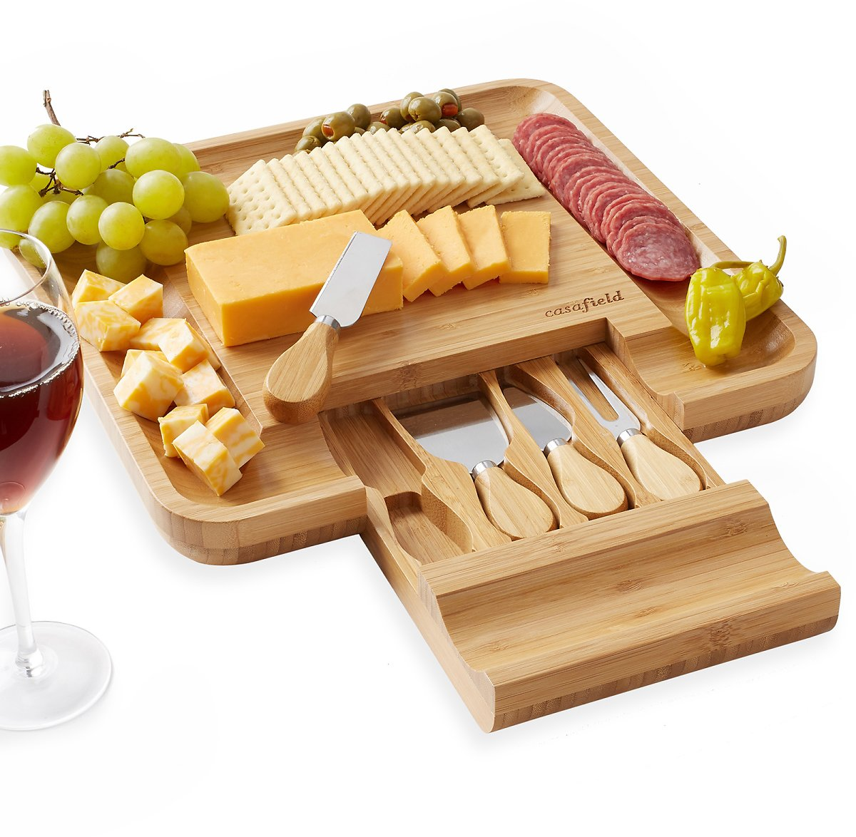 Casafield Casafield Organic Bamboo Cheese Cutting Board & Knife Gift Set