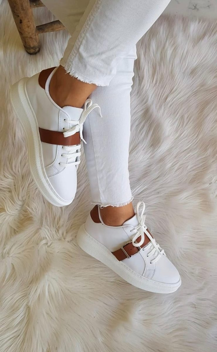 US $39.0 |WomeN Sneaker White Brown Striped Lace Up Ladies Walking Running Shoes Casual Breathable Gym Sport Super Light Shoes For Ladies|Women's Flats| - AliExpress