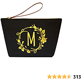 ElegantPark Monogrammed Gifts for Women Personalized Makeup Bag Monogram M Initial Makeup Bag for Wedding Gifts Birthday Gifts Teacher Gifts Cosmetic Bag Black Canvas
