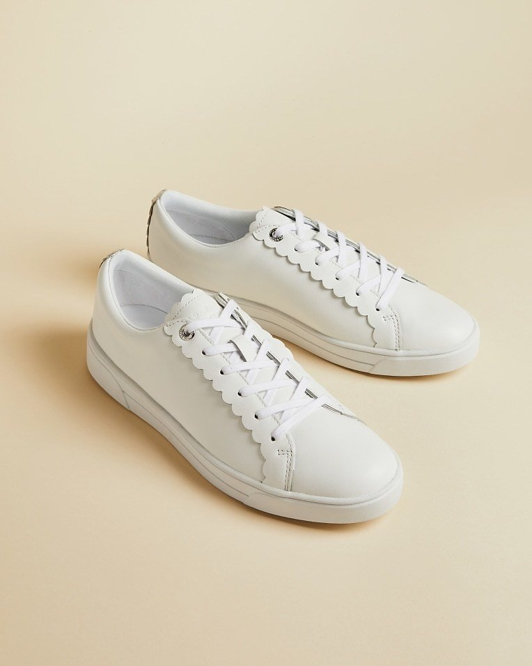 TILLYS Leather Scalloped Edge Trainer