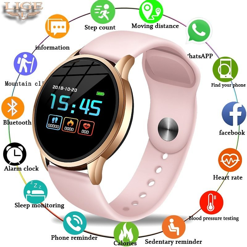 US $17.59 92% OFF|LIGE Fitness Tracker Smart Watch Waterproof Sport For IOS Android Phone Smartwatch Heart Rate Monitor Blood Pressure Functions|Smart Watches| - AliExpress