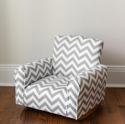 Personalized Child's Upholstered Rocking Chair Gray Chevron