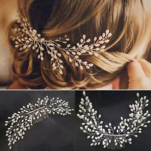 Details About Women/Lady's Wedding Bridal Pearl Hair Comb Hair Accessories Hairdress Jewelry