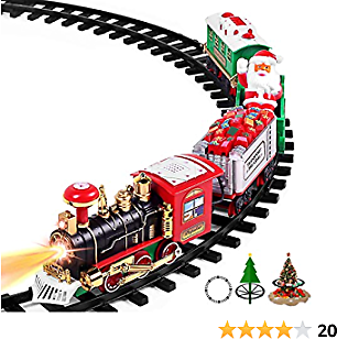 AOKESI Toy Train Set with Lights & Sounds - 2020 Updated Christmas Train Set - 30