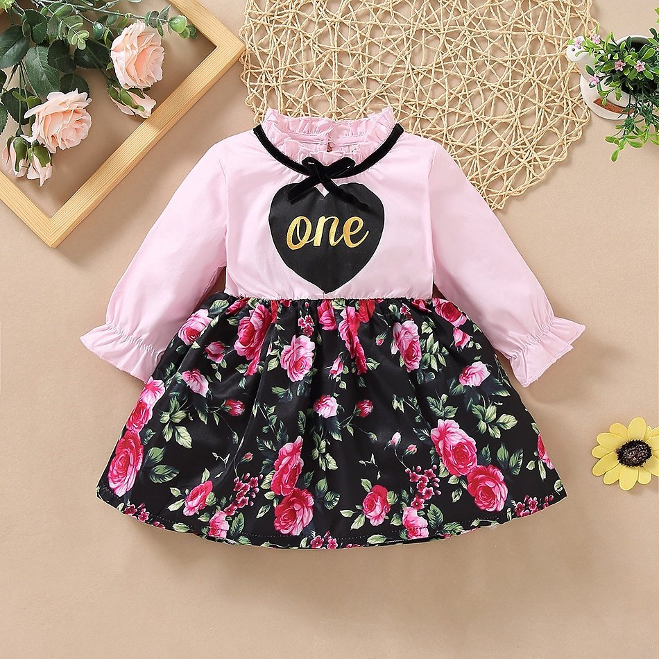 Baby Girl Floral Sweet Dress Fashion Long Sleeve Infant Clothing Outfits