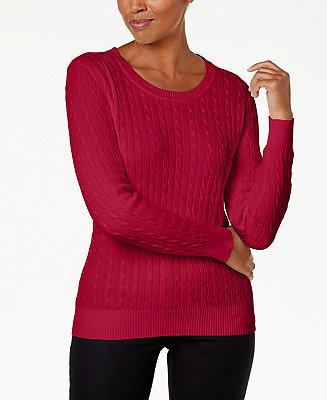 Karen Scott Cotton Cable-Knit Sweater, Created for Macy's & Reviews - Sweaters - Women