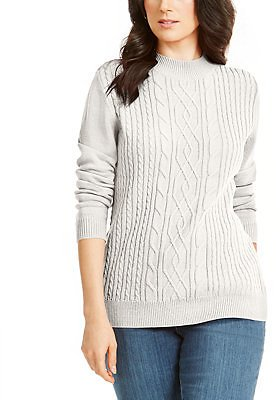 Karen Scott Cable Knit Mock Neck Sweater, Created for Macy's & Reviews - Sweaters - Women