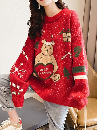 Women Christmas Cute Bear Print Round Neck Casual Knitted Sweater Sale - Banggood.com