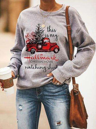Women Christmas Pattern Print Cotton Basic Casual Sweatshirt Sale - Banggood.com