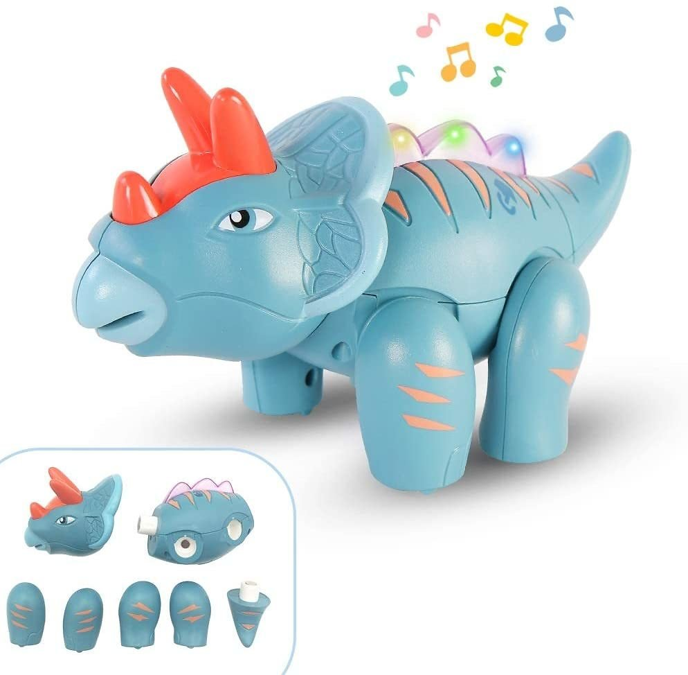Magnetic Building Touch Recording Talking Dinosaur Toys w/Sound Light